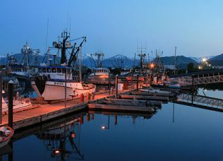 Photo by Del Wright - Midnight at Kodiak Harbor